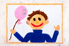 Colorful drawing: Smiling boy with pink balloon