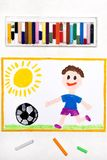 Drawing: smiling boy playing football. Colorful drawing: smiling boy playing football royalty free stock photography