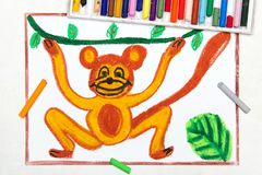 Drawing: smiling monkey is hanging on a liana. Colorful drawing: smiling monkey is hanging on a liana royalty free stock photo