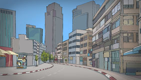 Colorful drawing of street with buildings. Sketch of Ramat-Gan city space - Israel Royalty Free Stock Photo