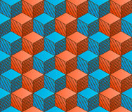 Colorful drawing styled cubes pattern Stock Images