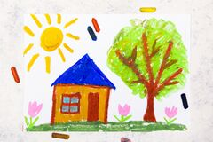 Colorful drawing: Sunny day,a small cute house next to a tree.