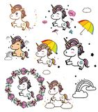 Colorful drawing with unicorns. With rainbow colors and stars on a white background Stock Image