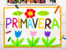 Colorful drawing: word PRIMAVERA Spring. And beautiful flowers Stock Photos