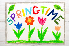 Colorful drawing: word SPRINGTIME stock illustration