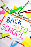 Colorful drawing with words `back to school Stock Photo
