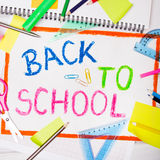 Colorful drawing with words `back to school` Royalty Free Stock Photography