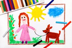 Drawing: Young girl in pink dress walking dog. Colorful drawing: Young girl in pink dress walking dog royalty free stock image
