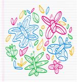 Colorful drawings of butterflies. Sheet of notebook with drafts of colorful drawings of butterflies and tree leaves Royalty Free Stock Photos