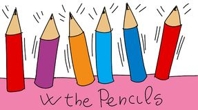 Pencils to color Colorful drawings in pop art style. Colorful drawings in pop art style stock illustration
