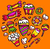 Colorful drawings of sweets. Ice cream and cakes. Everything a child likes to eat Royalty Free Stock Images