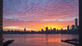 Colorful dreamy sunrise panorama of Manhattan from New Jersey si Stock Image