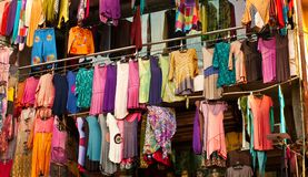Colorful dress hanging in the market, India Royalty Free Stock Photos