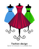 Colorful Dresses on the Mannequins Background Stock Image