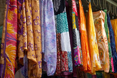 Colorful dresses in a street market Royalty Free Stock Photos