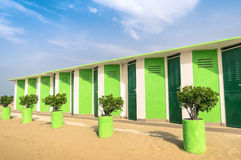 Colorful dressing Cabins at Rimini Beach Stock Image