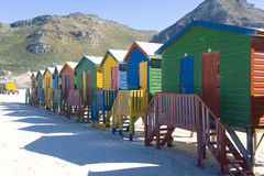 Colorful dressing huts on the beach Stock Photo