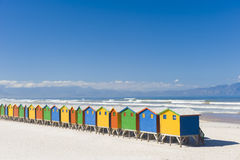 Colorful dressing huts on the beach. Brightly colored dressing huts on Muizenberg beach near Cape Town Stock Photos