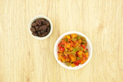 Colorful of dried fruit and raisin Stock Images