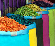 Colorful dried herbs. Bazaar in Morocco - Marrakech,  colorful bags with herbs Stock Photography