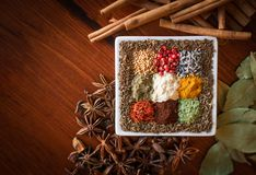 Colorful dried spices herbs and seeds off-centered on wooden background. royalty free stock photos