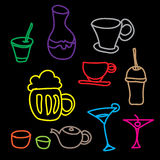 Colorful drink & beverage icons set on black background Royalty Free Stock Photography