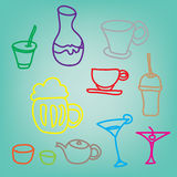 Colorful drink & beverage icons set on blue background Stock Photo