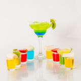 Colorful drink in a margarita glass, blue and green combination, Stock Photography