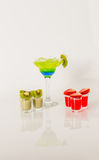 Colorful drink in a margarita glass, blue and green combination, Royalty Free Stock Photos