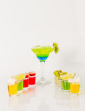 Colorful drink in a margarita glass, blue and green combination, Stock Photos