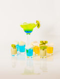 Colorful drink in a margarita glass, blue and green combination, Royalty Free Stock Image