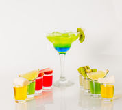Colorful drink in a margarita glass, blue and green combination, Stock Photo