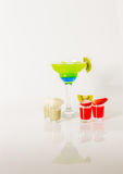 Colorful drink in a margarita glass, blue and green combination, Stock Images