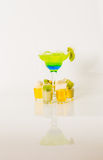 Colorful drink in a margarita glass, blue and green combination, Royalty Free Stock Photography
