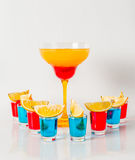 Colorful drink in a margarita glass, red and orange combination, Royalty Free Stock Photo
