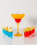 Colorful drink in a margarita glass, red and orange combination, Royalty Free Stock Image