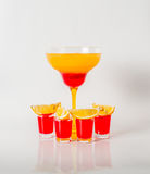 Colorful drink in a margarita glass, red and orange combination, Royalty Free Stock Photos