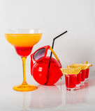 Colorful drink in a margarita glass, red and orange combination, Royalty Free Stock Photography