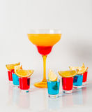Colorful drink in a margarita glass, red and orange combination, Stock Images