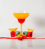 Colorful drink in a margarita glass, red and orange combination, Stock Image