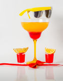 Colorful drink in a margarita glass, red and orange combination, Royalty Free Stock Images