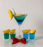 Colorful drink in a martini glass, blue and green combination, f Stock Image