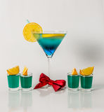 Colorful drink in a martini glass, blue and green combination, f Stock Images