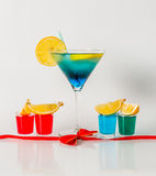 Colorful drink in a martini glass, blue and green combination, f Stock Photography