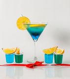 Colorful drink in a martini glass, blue and green combination, f Royalty Free Stock Photography