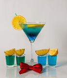Colorful drink in a martini glass, blue and green combination, f Royalty Free Stock Image