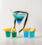 Colorful drink in a martini glass, blue and green combination, f Royalty Free Stock Photo