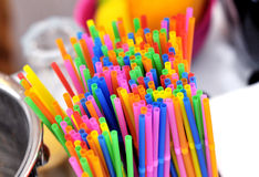 Colorful drink straw tubs Royalty Free Stock Images