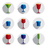 Colorful drinking glasses collection. Set of alcohol theme simpl Stock Image