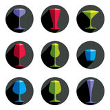 Colorful drinking glasses collection. Set of alcohol theme simpl Royalty Free Stock Photo